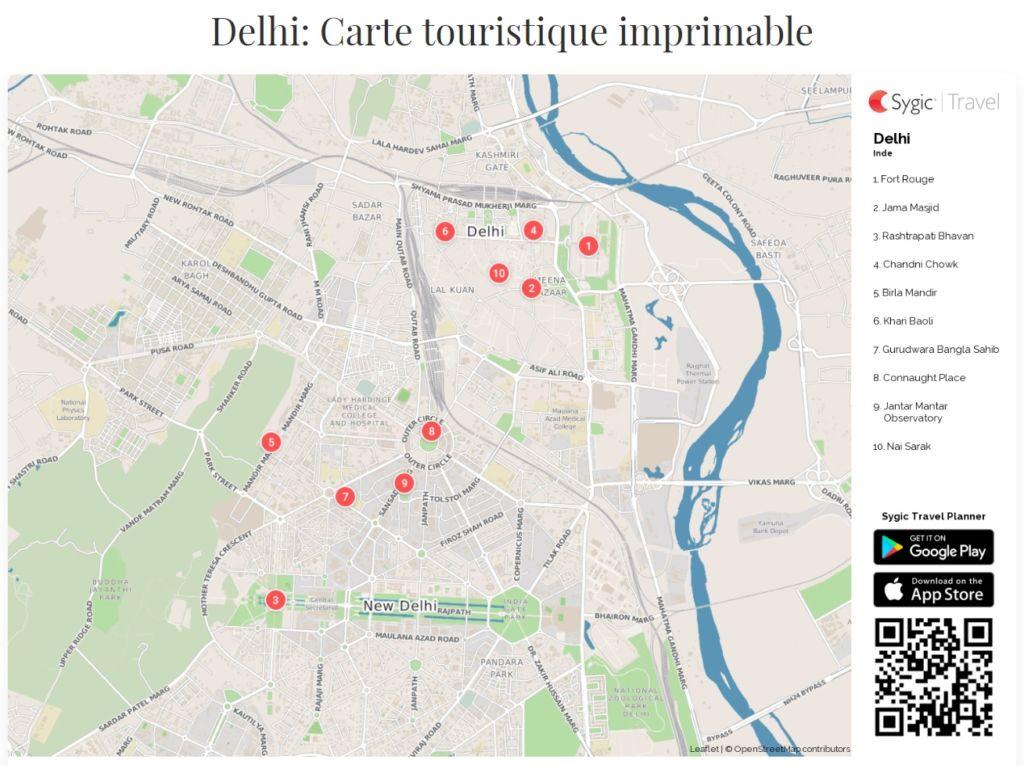 Delhi carte touristique
